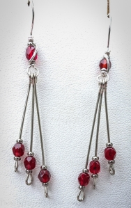 Red Waterfall earrings